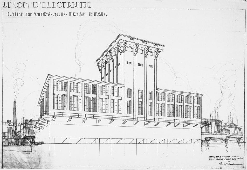 1926-1931. Centrale thermique au charbon Arrighi, Vitry, avec Paul Furiet, pers. de l'usine, prise d'eau, 5 mars 1925
