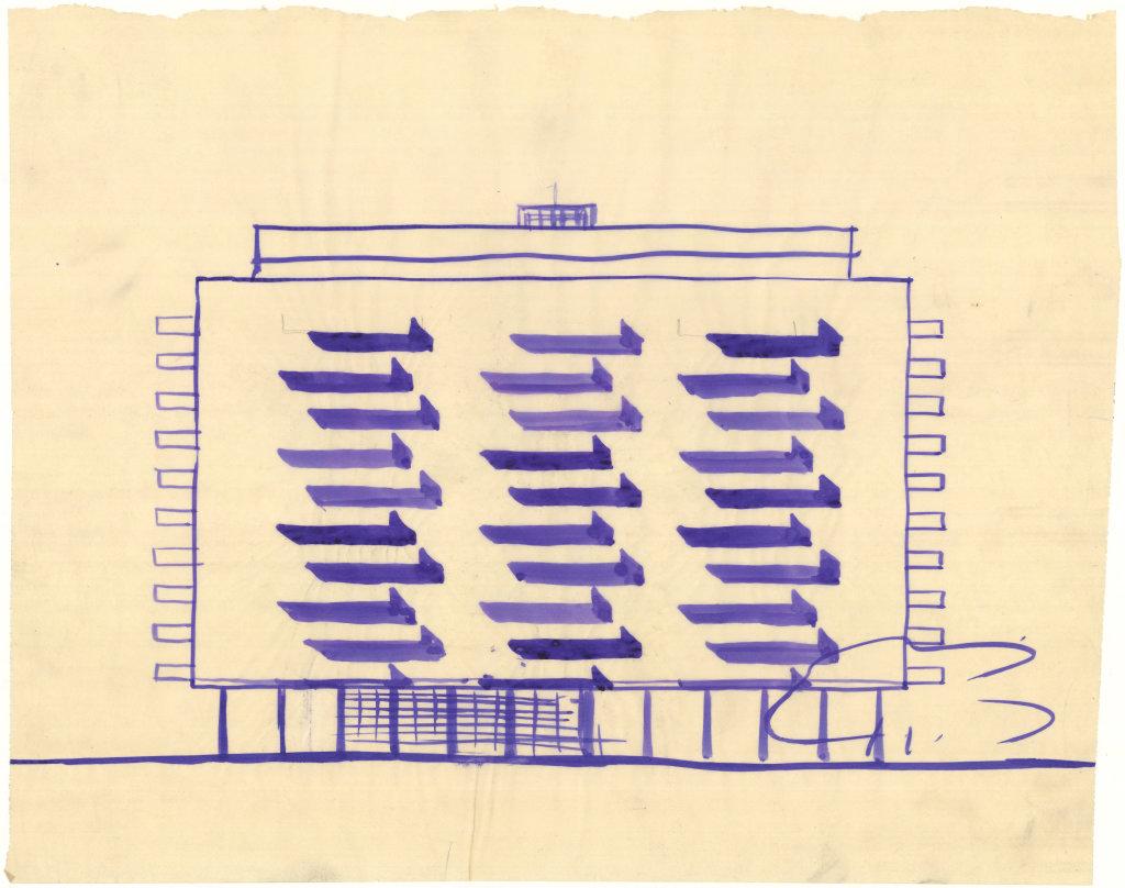 1949. Concours immeuble de logements pour le MRU, Villeneuve-St-Georges, esquisse de la façade Sud, n.d.
