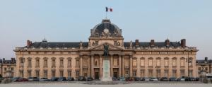 Central building of Ecole Militaire at dusk, Paris 7e