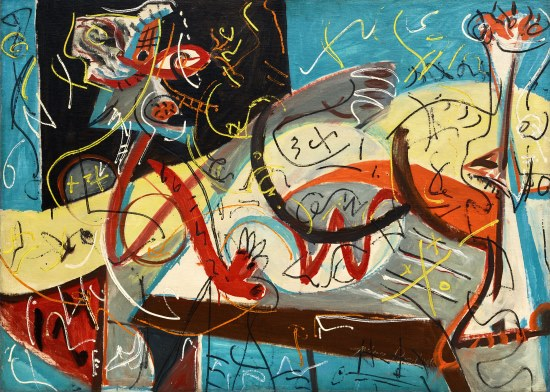 Pollock, Jackson (1912-1956): Stenographic Figure, 1942. New York, Museum of Modern Art (MoMA) Oil on linen, 40 x 56 (101.6 x 142.2 cm). Mr. and Mrs. Walter Bareiss Fund. 428.1980 *** Permission for usage must be provided in writing from Scala. May have restrictions - please contact Scala for details. ***