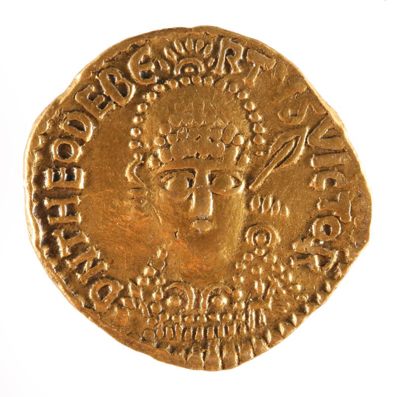 Monnaie de type solidus de Théodebert - Austrasie le royaume merovingien oublie - Espace Camille Claudel - Saint-Dizier