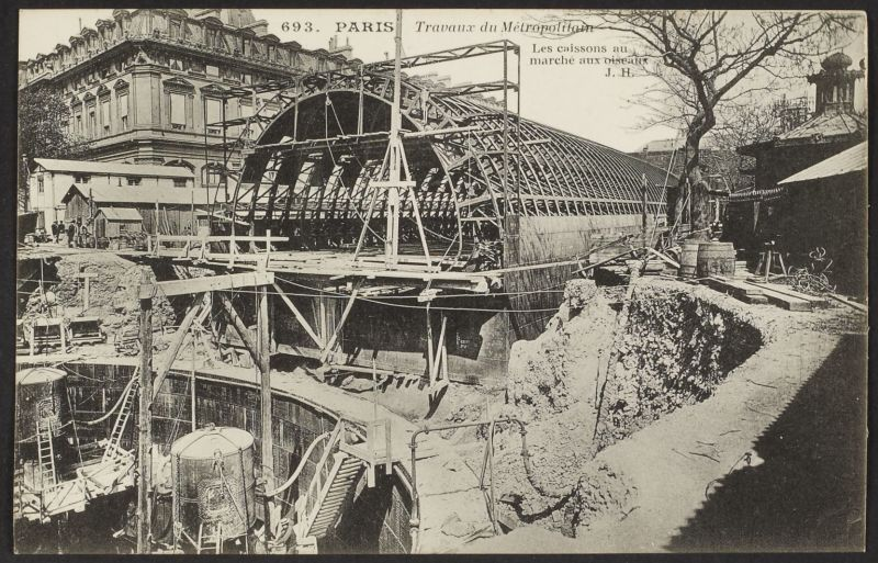 Travaux du métropolitain Carte postale - Aux origines du grand Paris - Museee d'histoire urbaine et sociale Suresnes