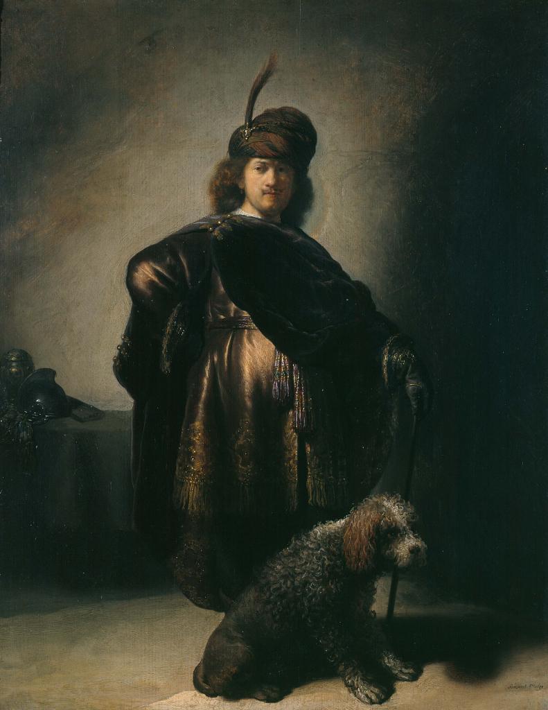 """Rembrandt (1606-1669). """"Portrait de l'artiste en costume oriental"""", vers 1631-1633. Huile sur bois. Musée des Beaux-Arts de la Ville de Paris, Petit Palais."""